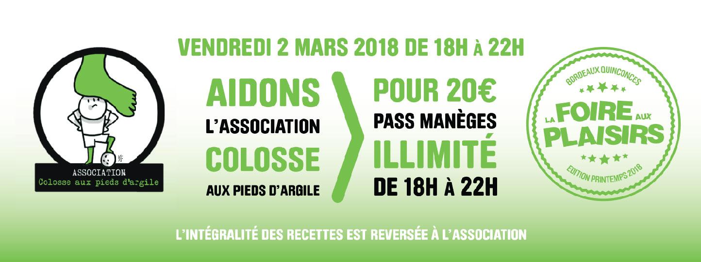 Foire aux Plaisirs de Bordeaux : Soirée caritative au profit de l'association Colosse aux pieds d'argile